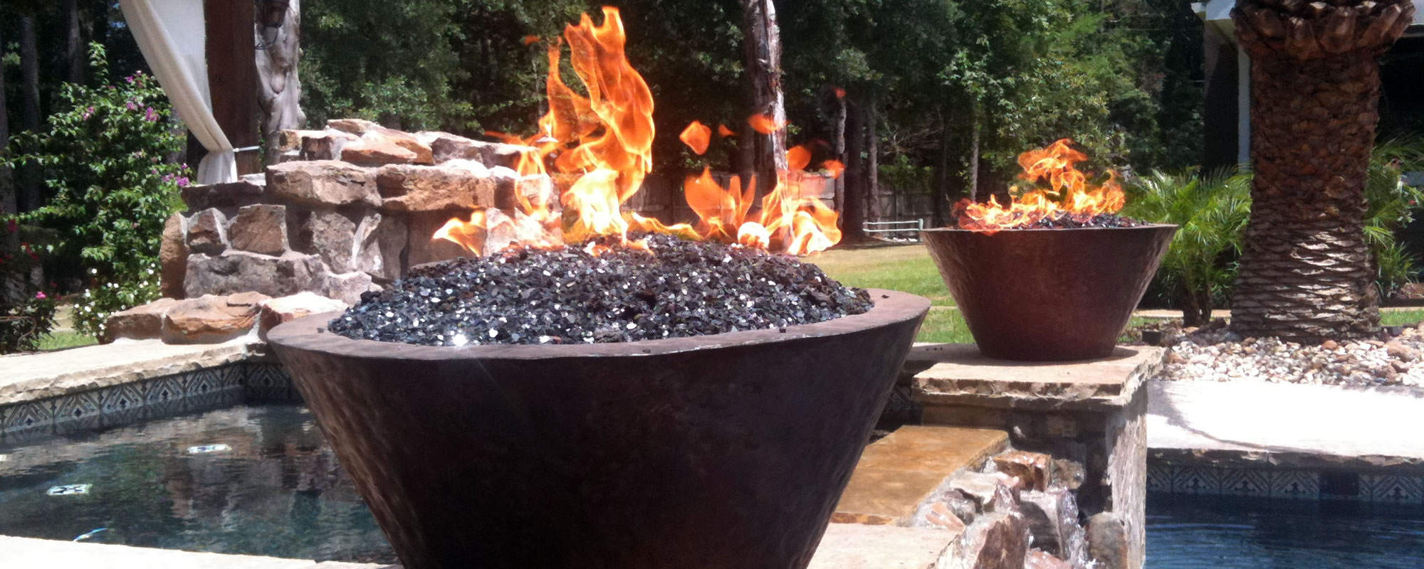 Gallery of retro fire designs outdoor living fire features for Fire and water features